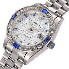 REGINALD Relojes de la Marca Mujeres de calidad Superior de Lujo de Acero Completo Calendario Unisex Cuarzo Reloj de Pulsera Para Hombres Reloj de Pulsera de Diamantes Gema