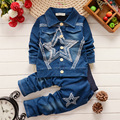 2016 new children's clothing Children's spring and autumn Regular suit Boys cowboy suit The child's clothes suit Star patterns