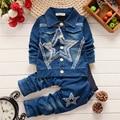 2016 new children's clothing Children's spring and autumn Regular suit Boys cowboy suit The child's clothes suit Star patterns