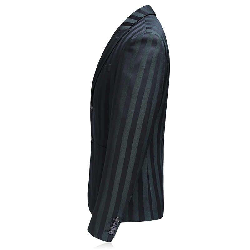 Mogu縦縞3枚スリムフィットパーティードレス2017秋新しいファッション結婚式の男性スーツ衣装アジアサイズメンズスーツ