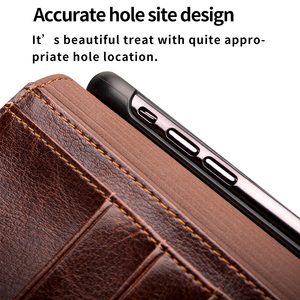 Image 5 - QIALINO Luxury Ultra Slim Phone Case for iPhone XS/XR Handmade Genuine Leather Wallet Card Slot Bag Flip Cover for iPhone XS Max