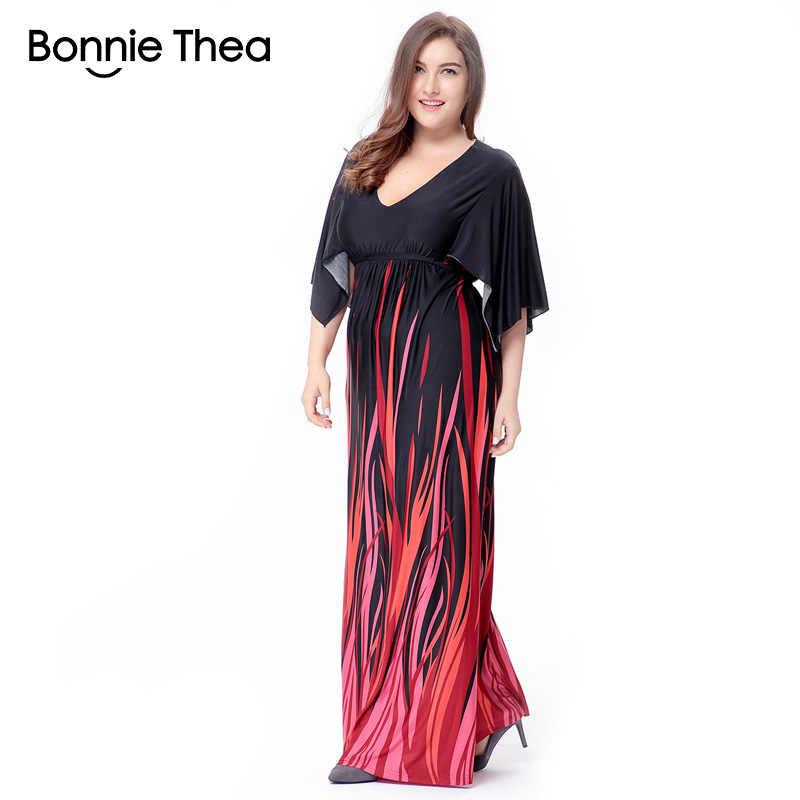 82204192874 Бонни Thea Boho черный полосатый плюс размер платье макси XL-6XL женские  большие размеры летнее