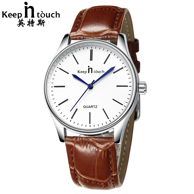 KEEP IN TOUCH New Fashion Casual Business Wristwatch Mens Womens Simple Waterproof Leather Strap Quartz Lovers Watches Relogio