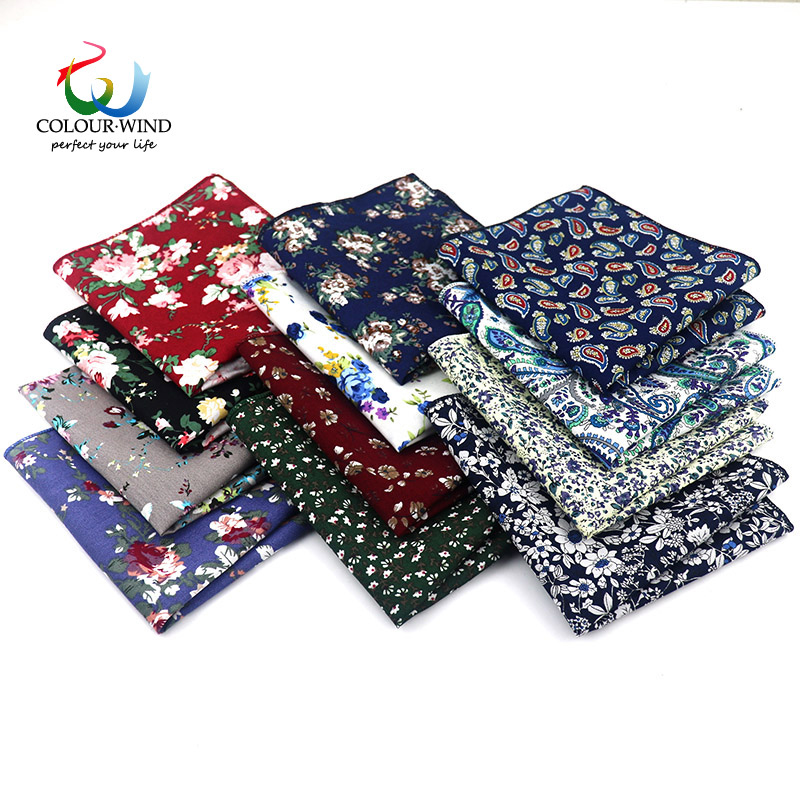 Top Cotton Pocket Square Fashion Flower Suit Tie For Men Paisley Printed Handkerchief 22*22CM Wedding Towel Ladies Hankies Gift