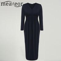 Meaneor Women Long Dress Vestido De Festa High Waist Autumn Winter Casual Elegant Party Dresses For