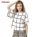 Bat Shirt Women Loose Summer Black White Tshirt Lattice Fashion Casual Chiffon T-shirt Women Big Size Poleras De Mujer De Marca