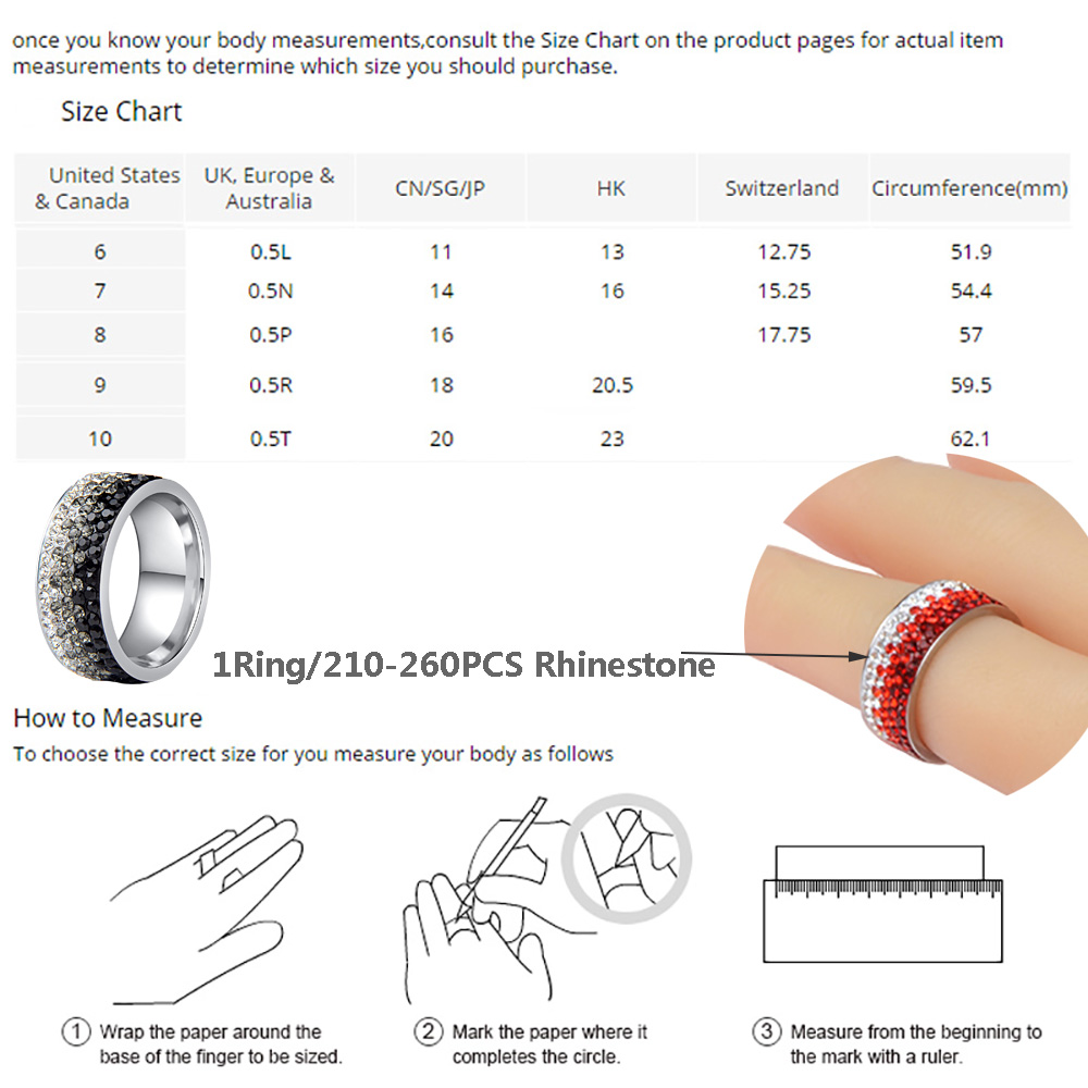 Chanfar 6 7 8 9 10 sizes Hot Sale Elegant AAA Crystal Ring Love Charm Stainless Steel Rings For Women Female Male Jewelry 6