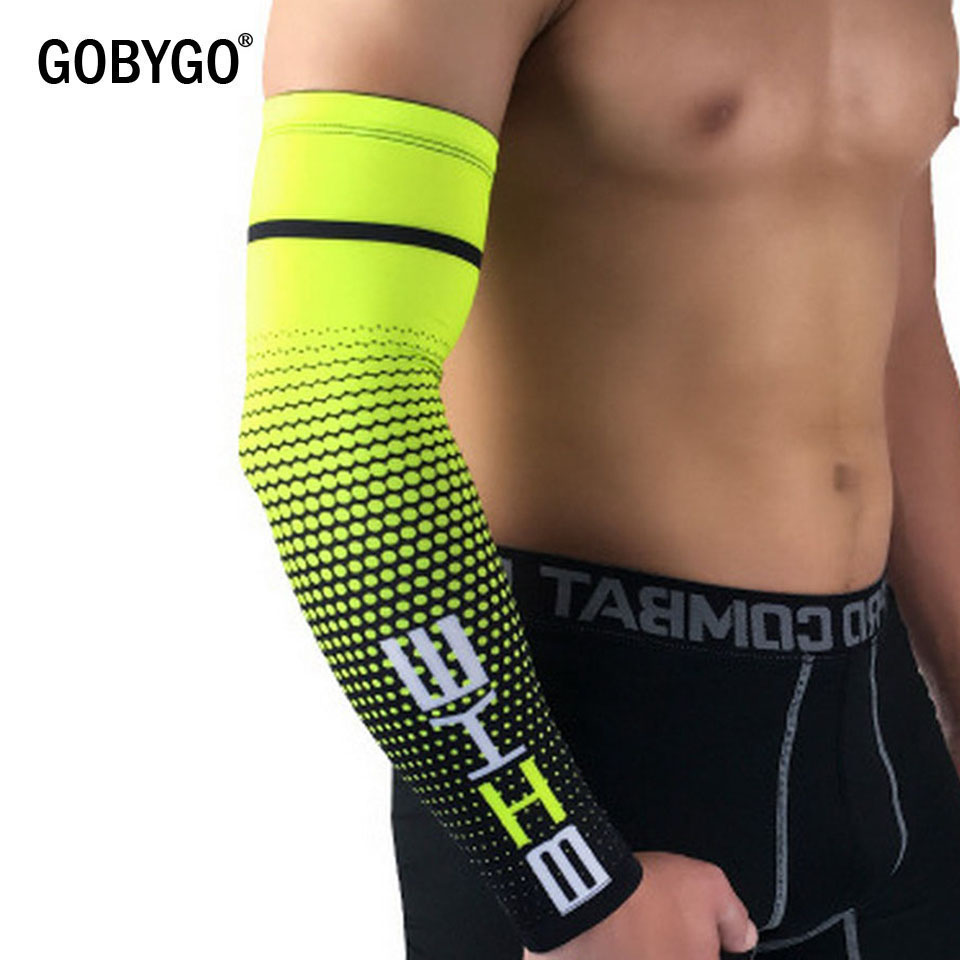 running - GOBYGO 1 Pair Cool Men Cycling Running Bicycle UV Sun Protection Cuff Cover Protective Arm Sleeve Bike Sport Arm Warmers Sleeves