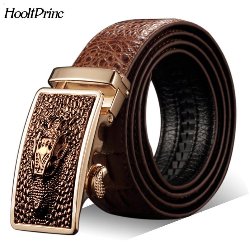 Vente chaude Hommes ceintures De Luxe en cuir Véritable Crocodile designer  Automatique ceinture homme boucle Réel 85d4ed77279