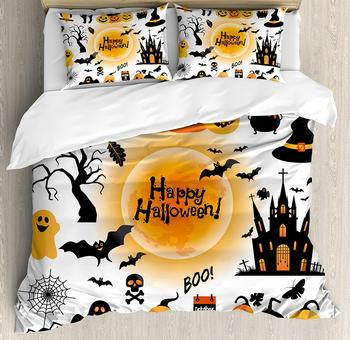 Halloween Decorations Duvet Cover Set Hallows Day Objects Haunted House Owl and Trick or Treat Candy 3/4pcs Bedding Set