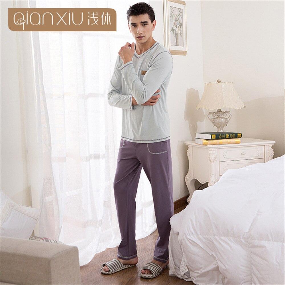 Qianxiu Men's Pajamas Cotton Knit Long Sleeves Men Sleepwear Household Male Clothing Sleep Pijama Masculinos Sexy Pyjama Set New