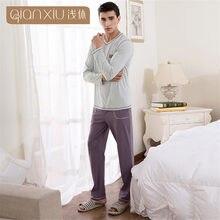 206731f6a9af8 Qianxiu Hommes Pyjamas de coton tricot Manches Longues hommes vêtements de  nuit ménage mâle Vêtements Sommeil