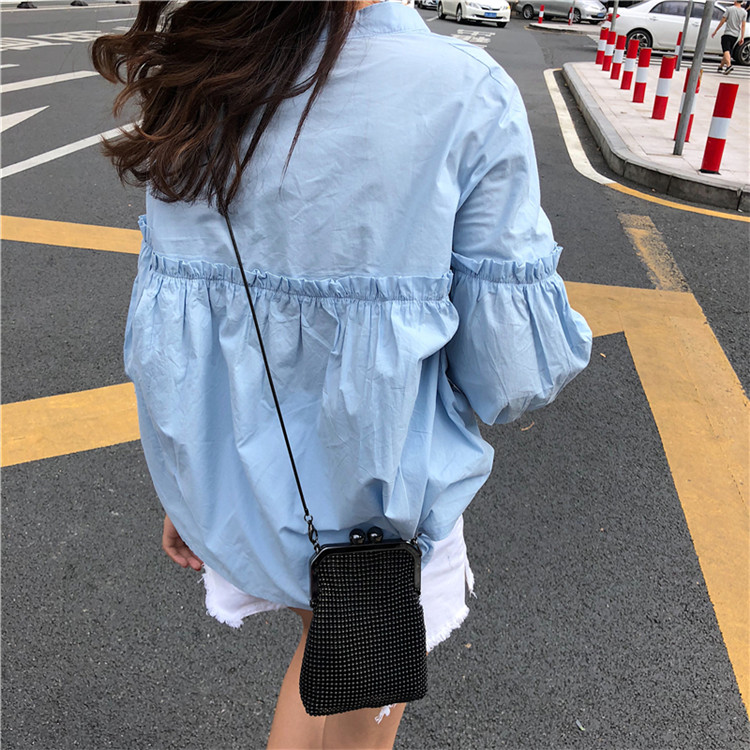 Alien Kitty Womens Solid Light Blue Sweet Shirt Girls New Summer Tops Loose Casual Lantern Sleeve Single-breasted Blouse Blusas 13