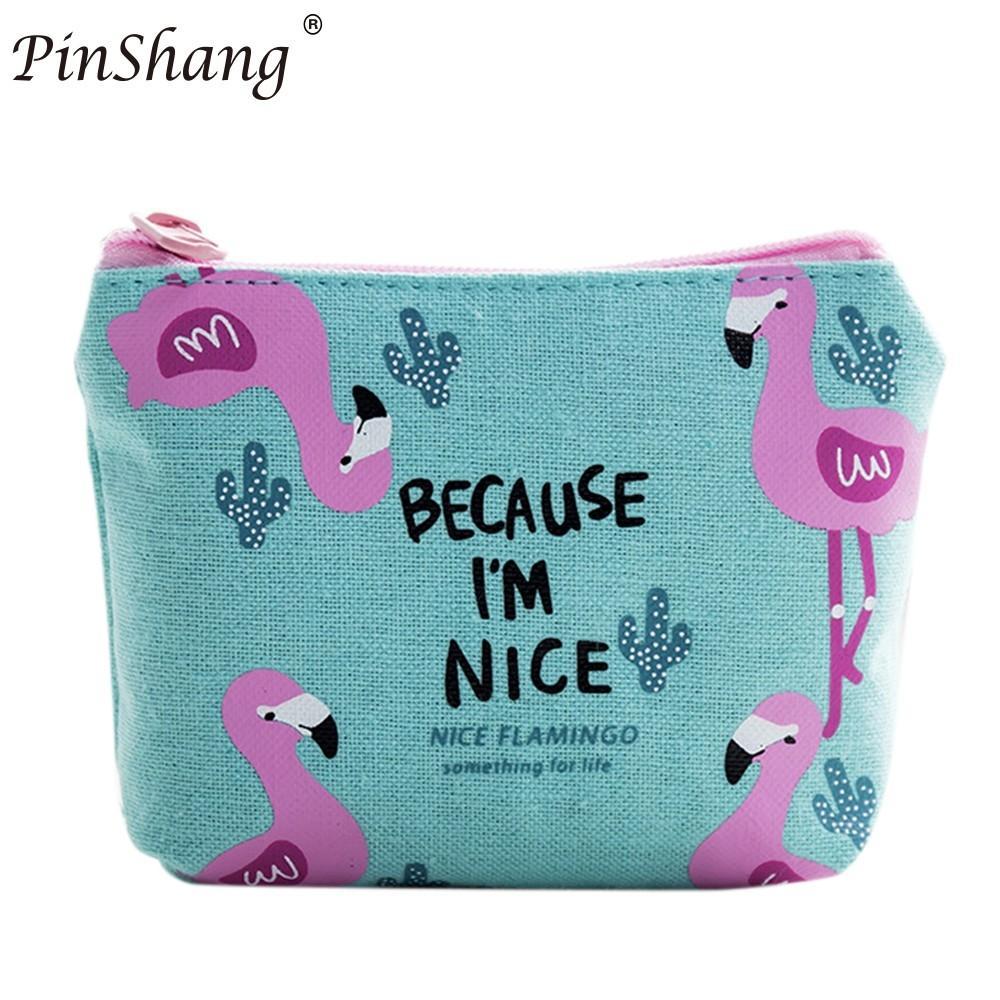 PinShang Women Girls Cute Fashion Canvas Coin Change Purse Pouch Bag Key Holder Zip Mini Wallet Gifts for girls ZK30