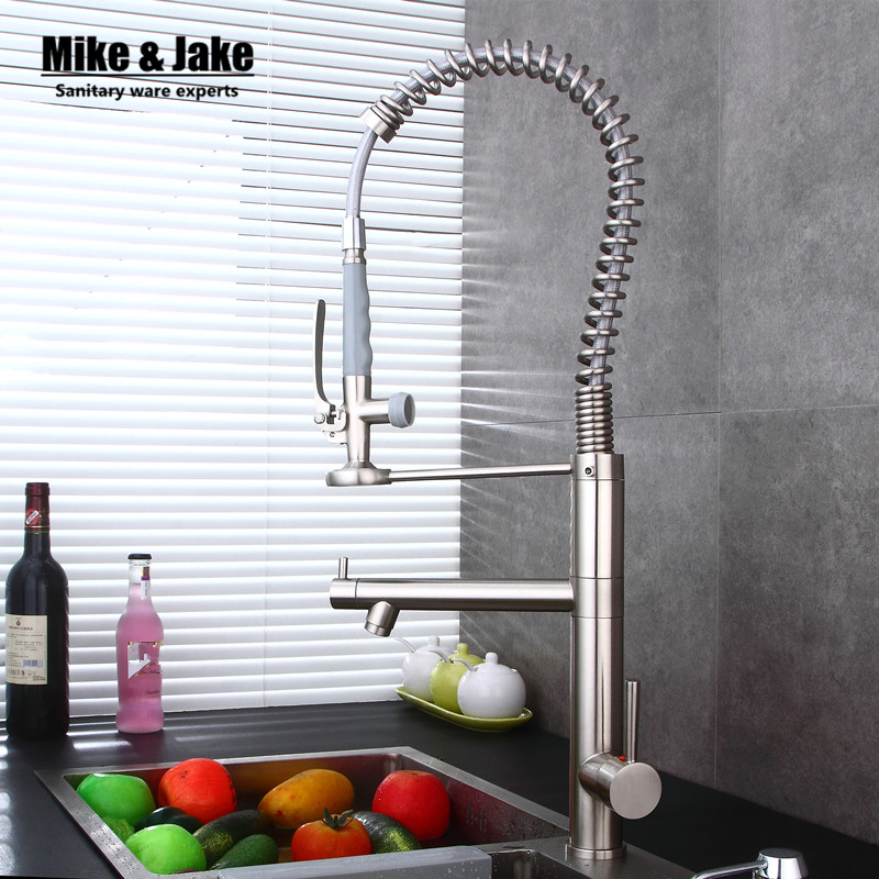 New brush nickel and Chrome Finished Pull Out Spring Kitchen Faucet Swivel Spout Vessel Sink Mixer Tap pull down kitchen faucet new pull out swivel chrome brass kitchen faucet spout vessel basin sink single handle deck mounted mixer tap mf 446