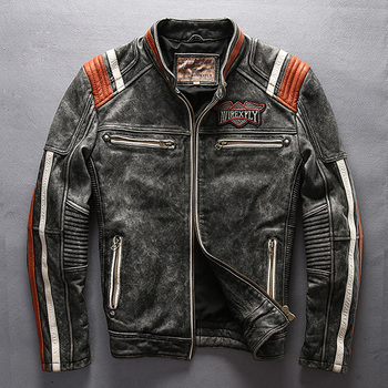 2019 Men Motorcycle Rider Jacket Genuine Leather Vintage Coat Stand Collar Embroidery Cowhide DHL Free Shipping