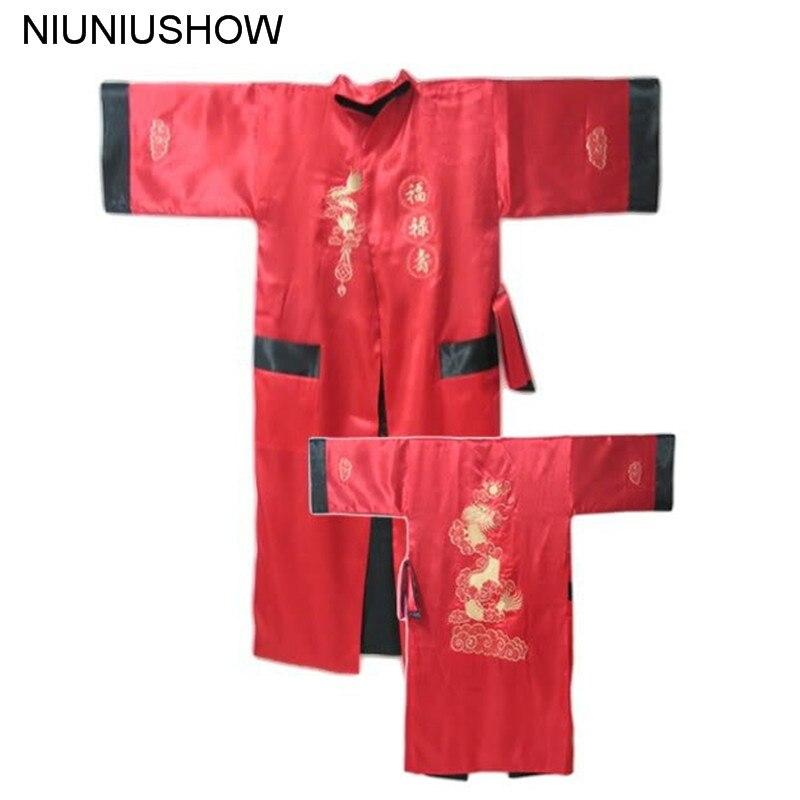 Underwear & Sleepwears Black Green Reversible Two-face Chinese Mens Silk Satin Robe Kimono Embroidery Bath Gown Dragon S0002 Men's Sleep & Lounge