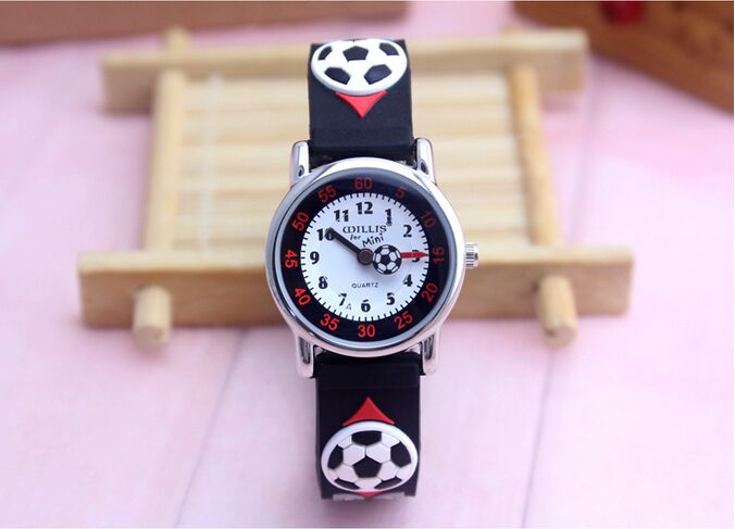 Willis 3D Football Clock Rubber Strap Quartz Watch Luxury Brand Waterproof Children Qlastic Watches Clock Child Watch