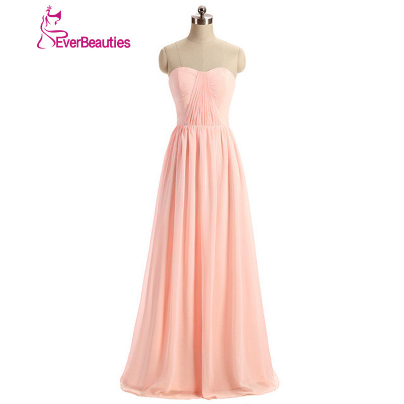 Cheap   Bridesmaid     Dresses   Long Under $50 Sweetheart Custom Size A Line Pink Pleated Chiffon