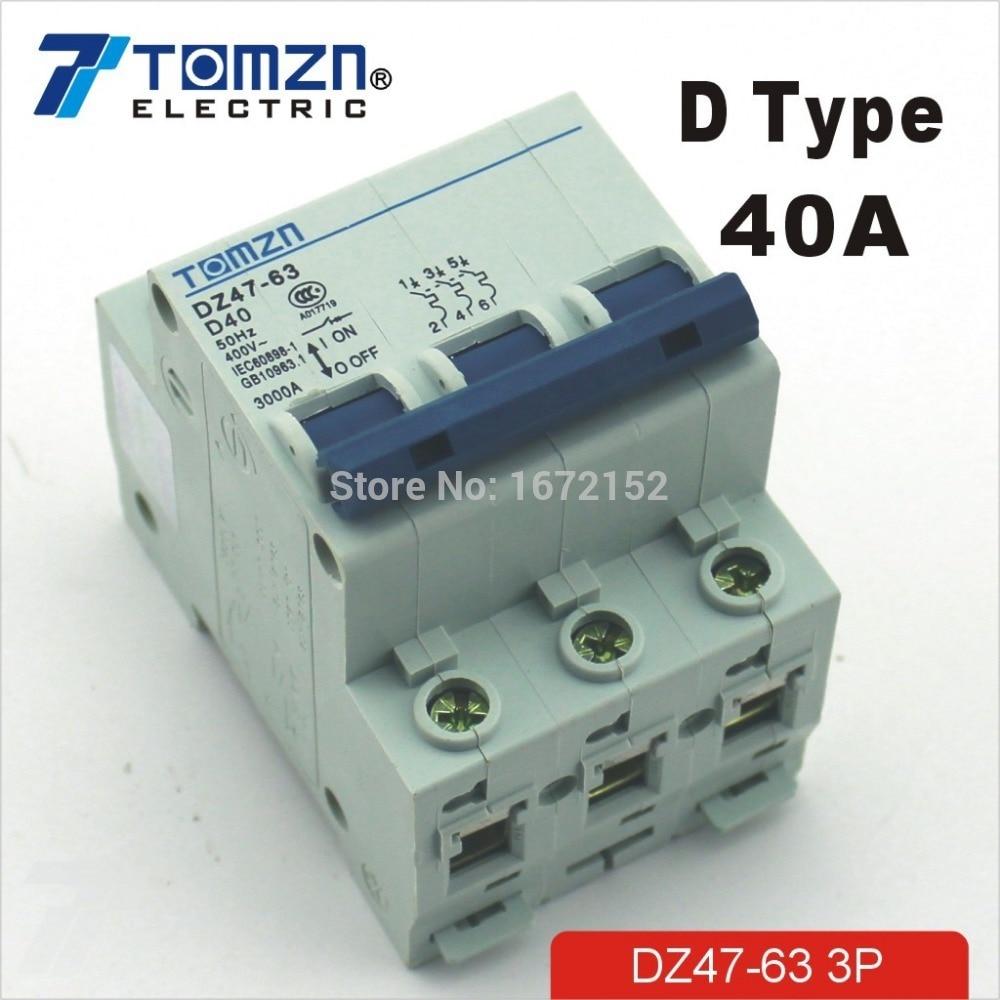 3P 40A D type 240V/415V Circuit breaker MCB 4 POLES new 31691 circuit breaker compact ns250h tmd 200a 4 poles 4d