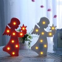 Schöne Engel Licht 3D Mädchen Jungen Elfen Nachtlicht FÜHRTE Niedlich schlafen Tischlampe Für Baby Kinder Schlafzimmer Weihnachten Decor Geschenk Spielzeug