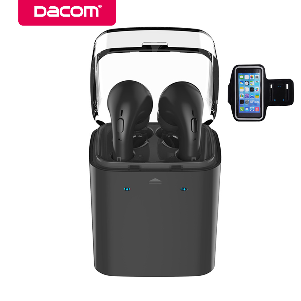 Dacom GF7tws-bluk smart bluetooth earphone wireless stereo earbuds hands-free phone earpiece headset for iPhone 8 samsung phone dacom bluetooth earphone mini wireless stereo headset tws ture wireless earbuds charging box for iphone xiaomi android phone