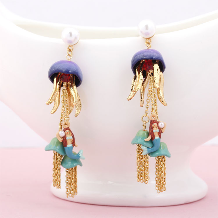Mermaid Jellyfish Magnetic Long Tassel Earrings Fashion Jewelry Sieraden Joyas Charm Jewellery Boucle D Oreille Earings