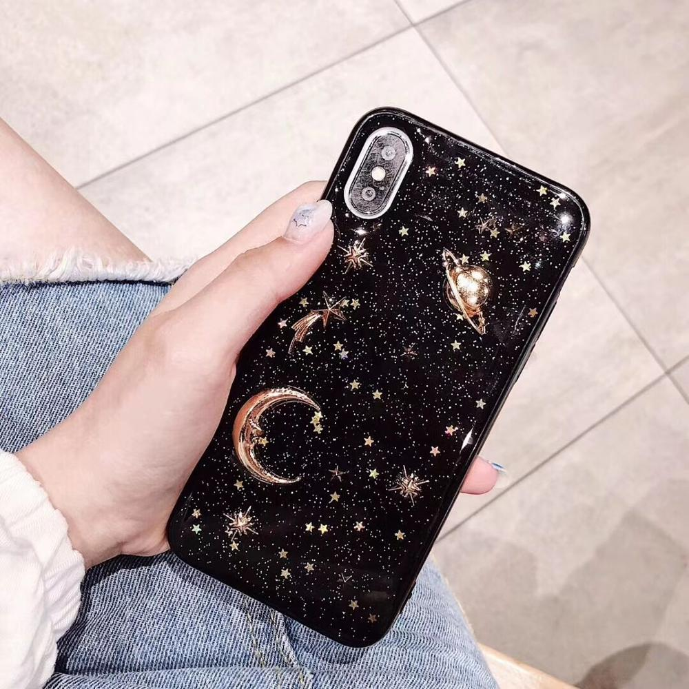 Shinning Glitter Moon planet soft case for Vivo Y85 Y66 Y67 Y83 Y93 Y97 V9 Y75 Y79 X21S X21i X23 X9 X9S X20 V7 Plus Cover Coque in Fitted Cases from Cellphones Telecommunications