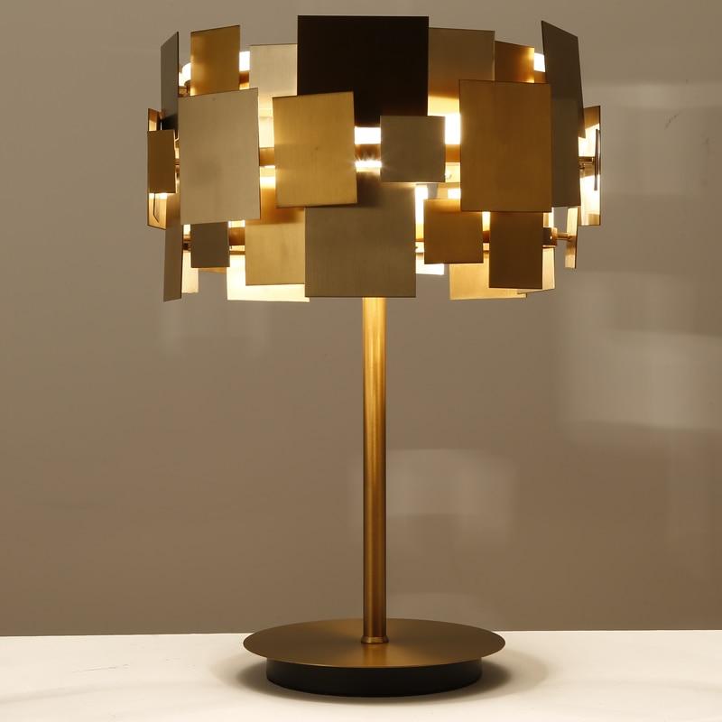 Personality Iron Table Lamp Creative Bedroom Bedside Living Room Study Office Metal Art Lighting LED Table lights ZA