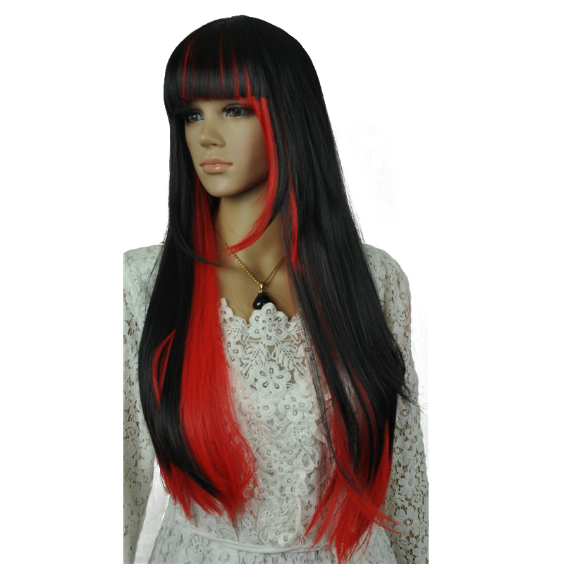 StrongBeauty Womens Wigs Cosplay Halloween Neat Bang Long Silky Straight Red and black Mixed Color Full Synthetic Wig