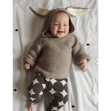 2017 New Hot Autumn and Winter Baby Boys and Girls Long-sleeved Hoodie Fashion Sweater with Rabbit Ear Cap