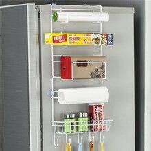 Стойка для холодильника боковая полка для холодильника многослойная боковина кухонный Органайзер с креплениями бытовой подвесной крючок складной холодильник для хранения