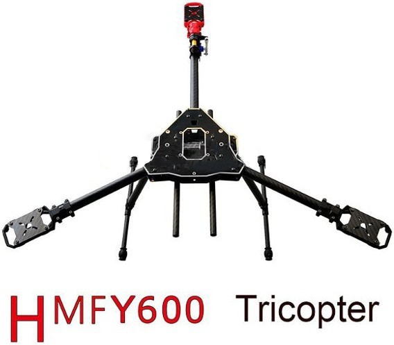 HMF Y600 Tricopter 3 Axis Copter Frame Kit With Landing Gear & Camera Gimbal Hanging Rod Mount DIY FPV RC Drone Y3 500mm pcb board with landing gear for fpv quad s500 pcb quadcopter multicopter frame kit gopro gimbal f450 rc spare parts