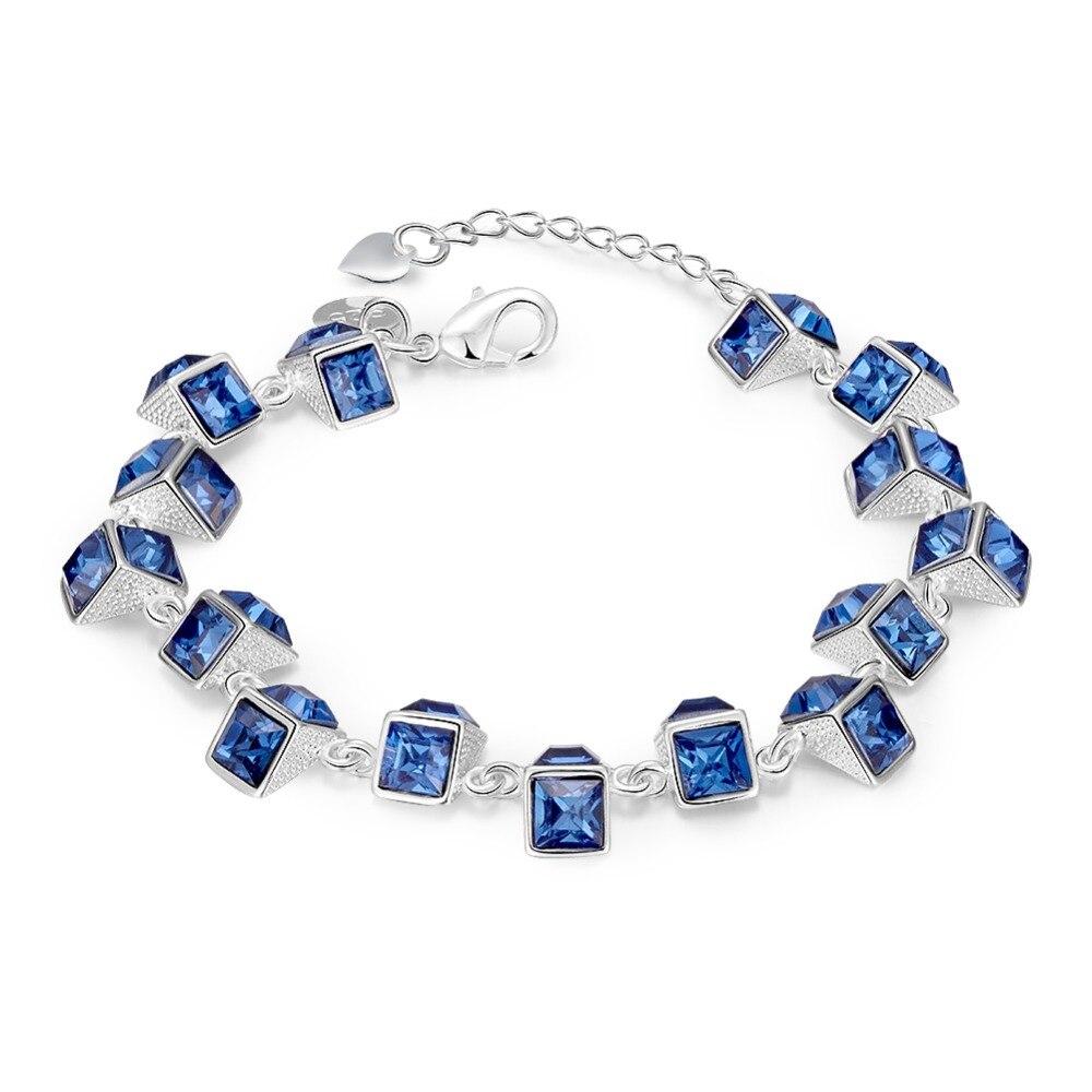 C869 Luxury Blue Crystal Bracelet For Wedding Silver Bracelet Rhinestone Charm Women Bangles JewelryC869 Luxury Blue Crystal Bracelet For Wedding Silver Bracelet Rhinestone Charm Women Bangles Jewelry