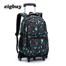 Latest Removable Children School Bag Bags With 3 Wheels Stairs Kids Boys Girls Trolley Schoolbag Luggage Book Backpack