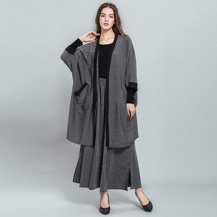 La Taille Gray Cardigan Black Manches Large Femmes Trois Jambe Trimestre Twinset Plus Occasionnel Nouveaux Pantalon 2017 Automne XIcBw1AqXx