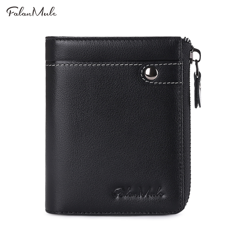цена FALAN MULE vintage genuine leather men wallets brand small zipper purse with coin pocket онлайн в 2017 году