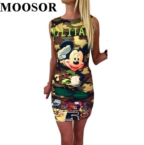 Camuflaje de impresión doble nueva moda de mickey summer dress 2017 casual sexy
