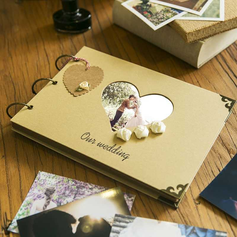 Hot-sale DIY album Scrapbook Paper Crafts heart handmade cover photograph holder cute Scrapbook Photos Frame Decor photo album
