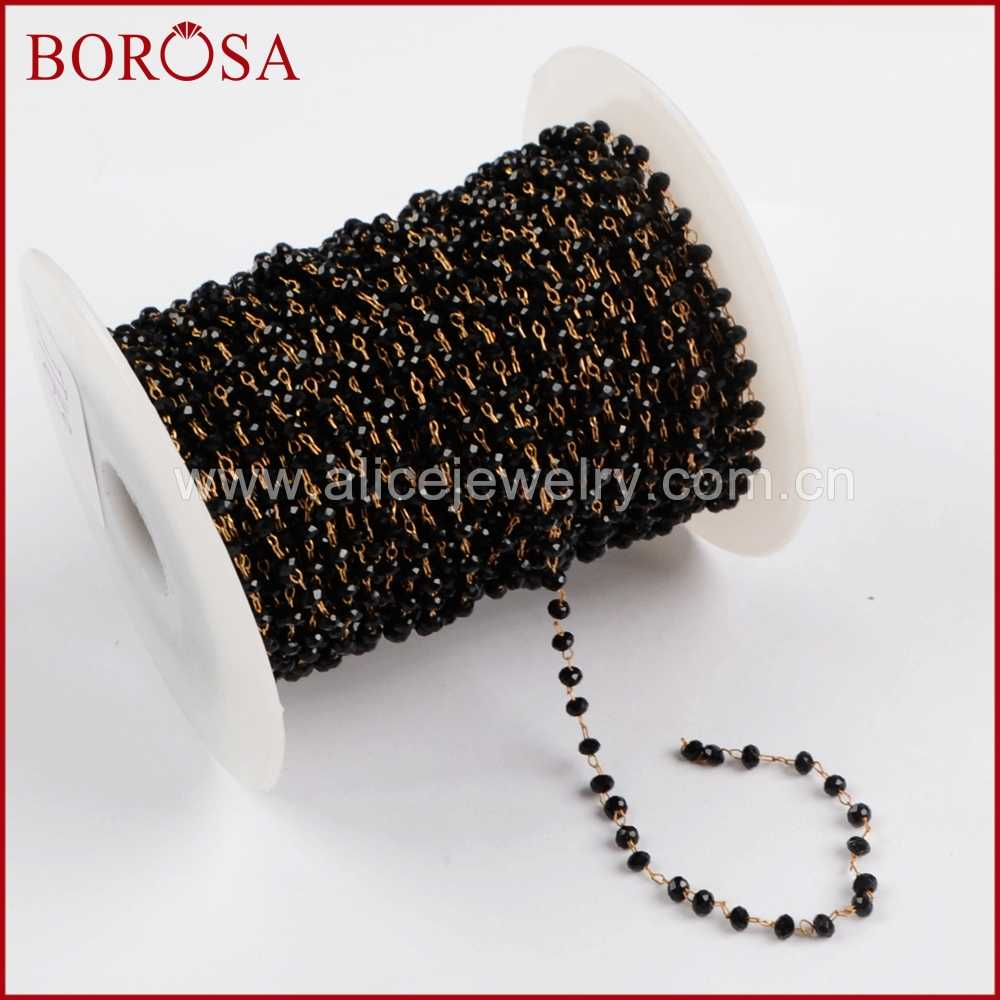 BOROSA High Quality 5Meters Gold Color Or Silver Color 3mm Black Glass Beads  Chains Rosary Chains 93ad956d56b8