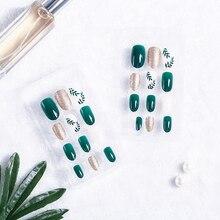 24Pcs/Set Women Leaf Pattern Green Nail Art Fingernail Artif