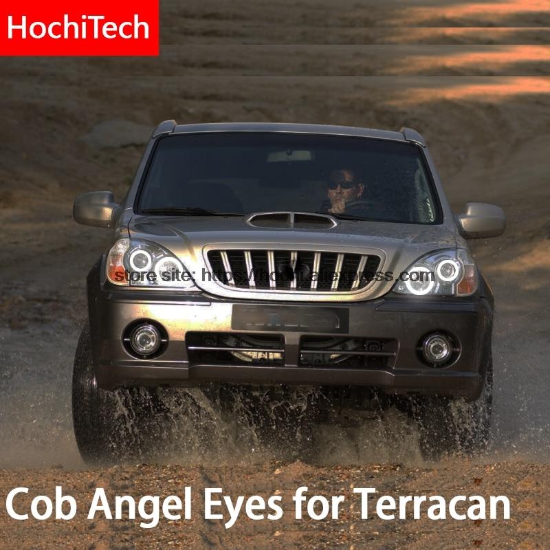 For Hyundai Terracan 2001-2007 COB Led Day Light White Halo Cob Led Angel Eyes Ring Error Free Ultra Bright