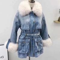 2018 Winter Jacket Women Long Denim Coat Real Fox Fur Collar With 90% White Duck Down Jacket Warm Parka Outerwear Three waysWear