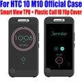 Para htc 10 m10 case oficial tpu + plástico chamada id inteligente ice ver capa flip for htc 10 lifestyle + protetor de tela m102