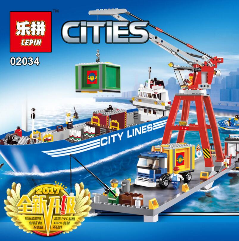 Lepin 02034 City Series Super Cargo Port Terminal Assembled Building Blocks Children Educational Toys 7994 Brick Toy a toy a dream lepin 24027 city series 3 in 1 building series american style house villa building blocks 4956 brick toys