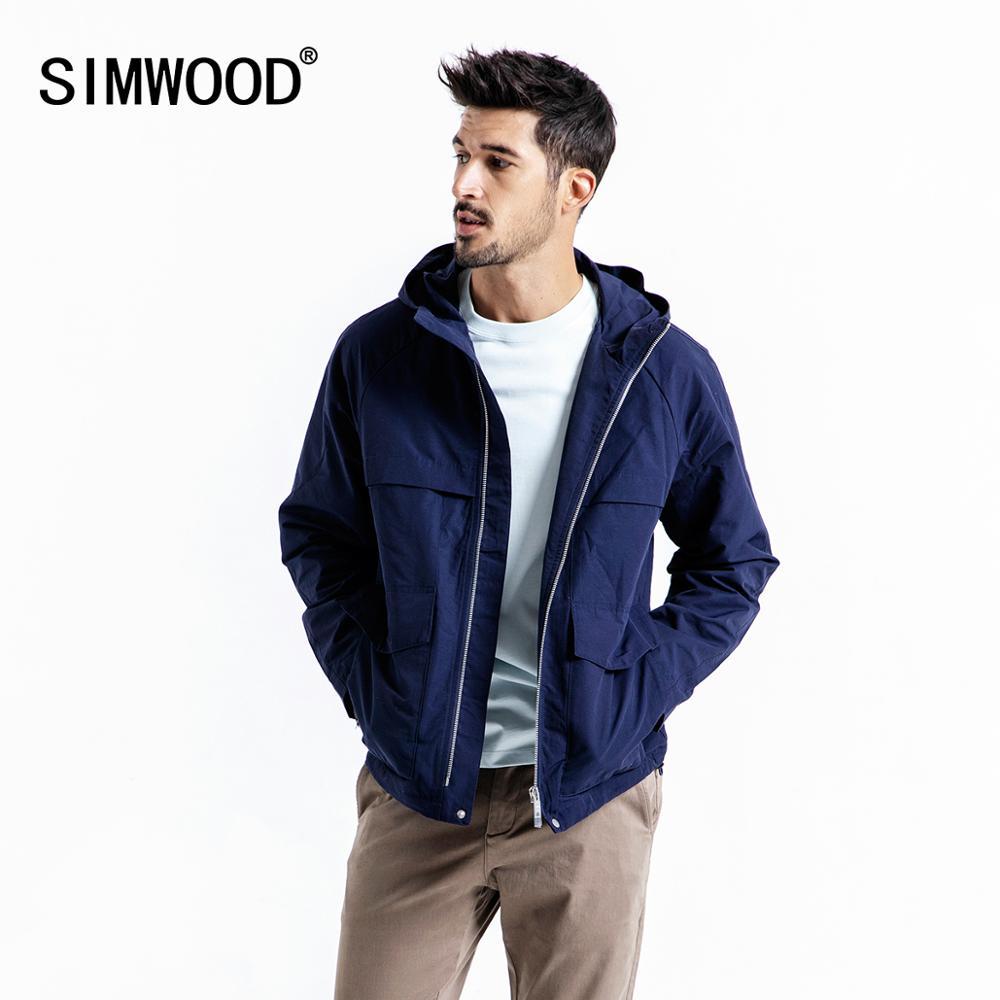 SIMWOOD 2019 jesień kurtka mężczyźni Plus rozmiar kurtki z kapturem męska Plus rozmiar wysokiej jakości płaszcze na co dzień krótkie znosić 190102 w Kurtki od Odzież męska na AliExpress - 11.11_Double 11Singles' Day 1