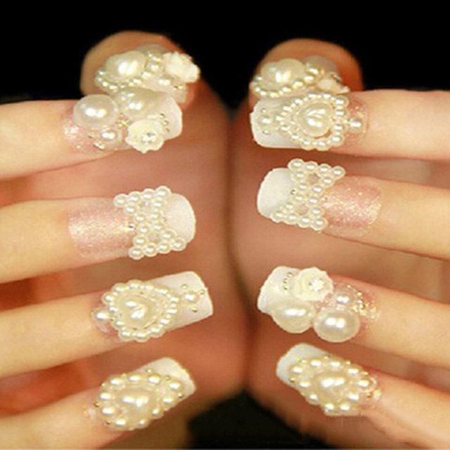 Online Shop 4 Sizes Rhinestones For Nail Half Round White Pearl Nail