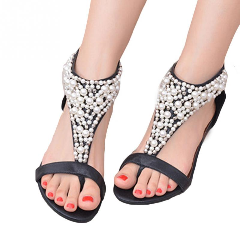 Summer Women's Open Toe Sandals Rhinestone Zipper Pearl Beaded Wedges Sandals Ankle Wrap Gladiator Women Shoes