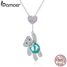 2b485a316341 BAMOER 100% de Plata de Ley 925 CZ Rosa Corazón y lindo oso Animal colgante  collares para mujeres joyería de plata regalo SCN271