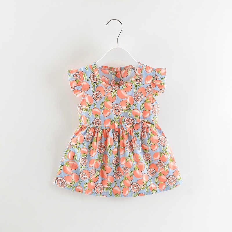 Лето 2019; платья для девочек; Одежда для девочек с фруктовым принтом; хлопковая детская одежда; милое платье для маленьких девочек